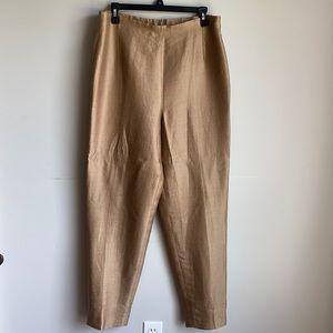 Lafayette 148 golden bronze silk trouser pants 12